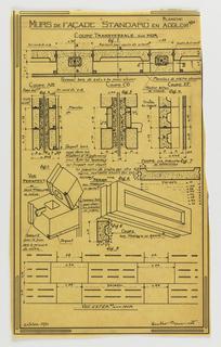 "Drawing, Plate Illustrating Standard Concrete Block Façade Walls (""Murs de Façade 'Standard' en Agglomérés"")"