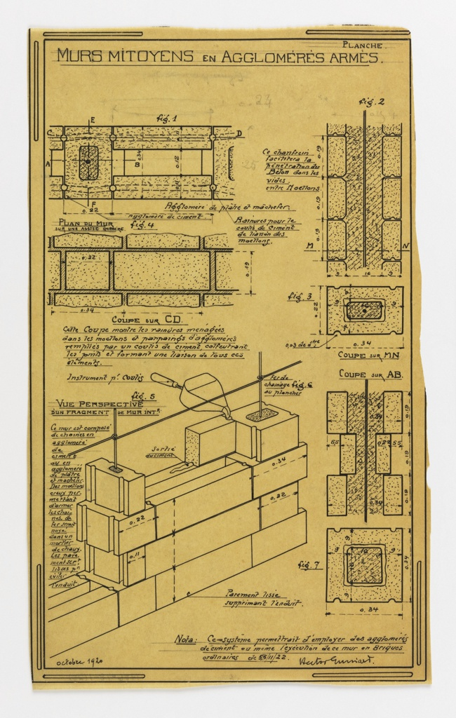 Drawing, Design for a Mass-Operational House Designed by Hector Guimard, Wall Construction