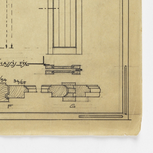 Design for a mass-operational house by Guimard, detailing the construction of doors and windows.