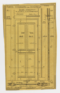 Design for a mass-operational house by Guimard, detailing the construction of the inside door.