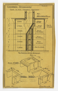 Design for a mass-operational house by Guimard, detailing a cross section of the chimneys.