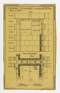 Design for a mass-operational house by Guimard, detailing chimney construction.