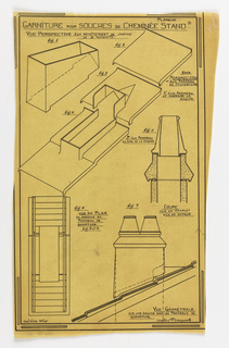 Design for a mass-operational house by Guimard, detailing the construction of the chimney supports.