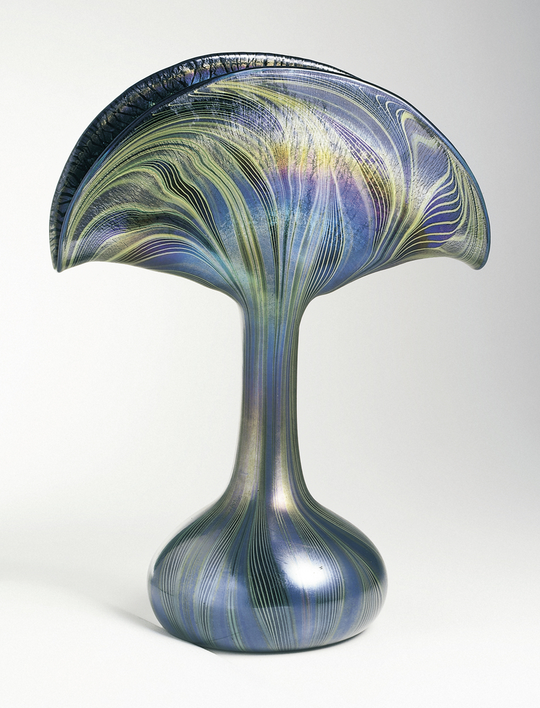 Fan-shaped top tapering into bulbous base.  Green and blue striated swirl decoration loosely following shape of vase, ground pontil.