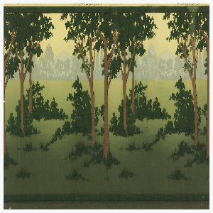 Frieze shows mounted hunters in red coats, with hound dogs, against a landscape background in which green prevails. Filling shows a landscape without figures. Stamped on each upper margin: Carey Bros. W.P. Mfg. Co., and on frieze: 3248.