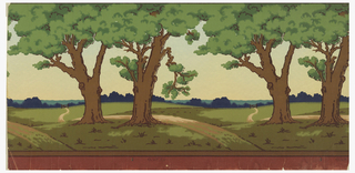 Landscape frieze; Flat meadow with hills in far distance; repeating pair of oak trees in foreground. Stamped on upper margin: Gledhill Wall Paper Company. New York, N.Y.; on reverse: Frieze No. 1242 AA/ 30 Inch Ingrains. --WR