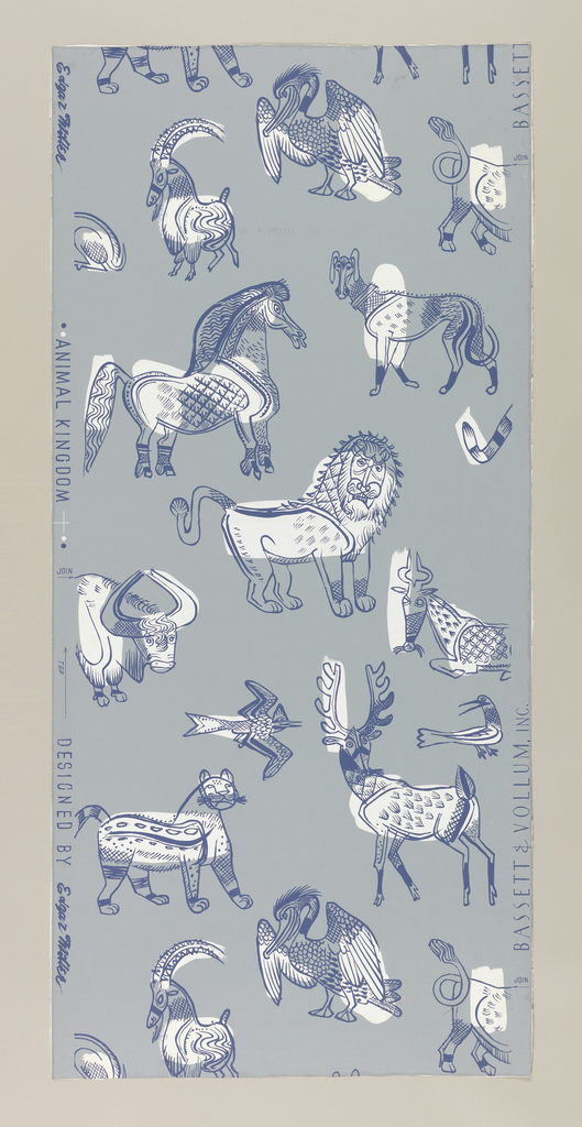 Freely sketched animals, including a horse, dog, lion, other animals and birds in random arrangement. The animals are outlined in dark blue, shaded with white, on a pale gray-blue ground. Drop match.