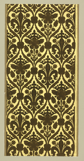 All-over ogival framework which forms drop-repeating vertical medallions. The latter contain, alternatively, a fleur-de-lis surmounted by a crown and a Tudor rose beneath a crown. Printed in deep green flock on a metallic gold ground.