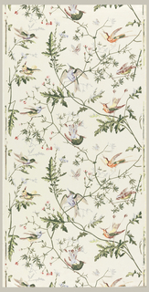 Ascending flowering branches in random arrangement with several varieties of perching birds. Also flying bird and butterflies. Green leaves and branches. Drop match at the sides. Printed in about ten colors on cream ground.