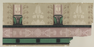 Horizontal bands of ornament at bottom. From these rise two pilaster bases. The field between the pilaster bases is treated as a panel decoration with formal foliate and floral ornament. Beige ground.