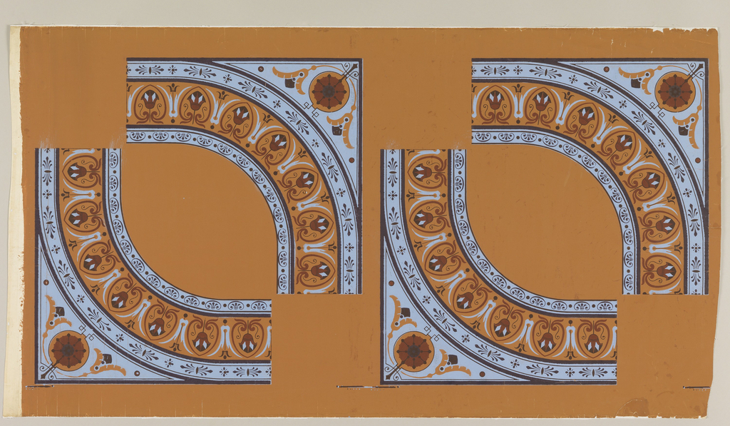 """Quarter sections of a ceiling motif, forming flattened circle of lotus border, and conventionalized flower in corners. Printed in blue and three browns on ochre. """"a"""" with two pairs of facing sections; """"b"""" with one pair."""