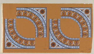 "Quarter sections of a ceiling motif, forming flattened circle of lotus border, and conventionalized flower in corners. Printed in blue and three browns on ochre. ""a"" with two pairs of facing sections; ""b"" with one pair."