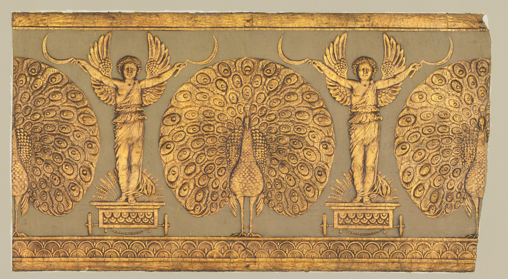 On beige ground facing peacocks with spread tails alternating with sickle-bearing genii on chariots. Design heavily embossed and bronze-gilded to imitate leather.