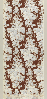Diamond-shape clusters of foliage and flowers are connected in vertical rows so that the widest part in one row alternates with the narrowest part of the next row. Shades of gray on maroon flock ground. Length includes two full repeats of pattern.