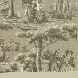 Pastoral scenes including a country girl in cap and apron coming from a church, a man and two hoop-skirted women before a stone wall, and a man standing beside a seated woman who is holding a child. The scenes are separated by trees. Printed in grisaille. Includes two full repeats of pattern.