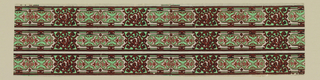 Pair of rectanglue cartouches, separated by scroll and strap work. Design outlined in bright red flocking, filled with light (arsenic) green on glossy gray ground. Printed three across.
