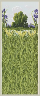 a) Sidewall with all-over pattern of tall grass or turf; b) Landscape frieze: central motif contains grouping of trees against clouded blue sky. In front of this is a small body of water. The very front of the scene contains a purple iris at either side.