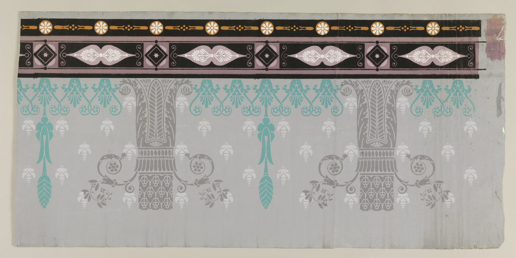 Probably the top border to a panel decoration. Acanthus capitals with scrolling pendants alternate with turqouise cone pendant with white floral triangle. Double band of geometric border at top edge.