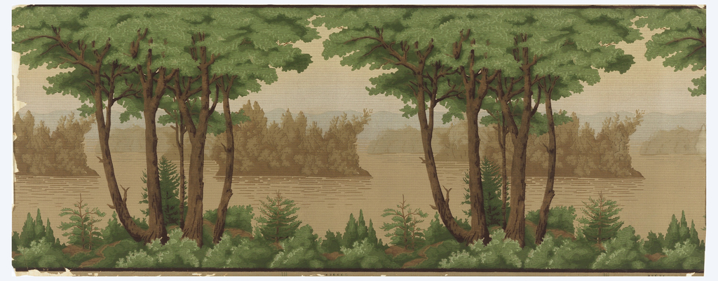Landscape frieze, with repeating design of mountain lake set with islands. Identical trees in foreground, with one clump of pines, in the distance, appearing larger than others. Entire paper printed with close set lines of square dots, intended to suggest the appearance of tapestry.