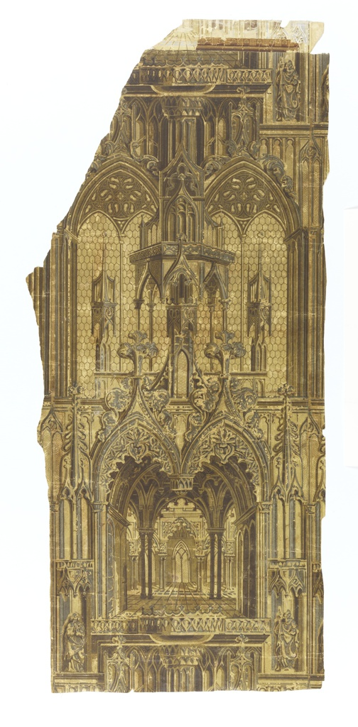 """A gothic paper, originally light toned but which has been darkened by varnish. Two motifs alternate vertically. One is a Gothic chamber with vaulted ceilings. The other is composed of a carved stone canopy behind which are two double arched leaded windows - """"a"""" and """"b"""" have remnants of a frieze at top. Red flock with gold - see letters from donor."""