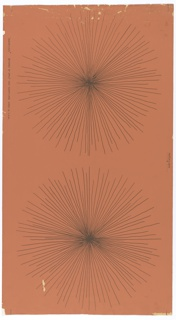 Black lines radiating from a center point forming a round motif similar to a dandelion flower. Large scale, one motif to a width, on orange-brown ground.