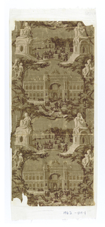 Wallpaper commemorating the Paris Exposition of 1855. Two repeats of main building and a smaller building, alternating. Flanking them, the Marly Horse sculptures at the entrance to the Champs Elyseés, and two city statues on pedestals on the Place de la Concorde. Printed in beige and brown on drab ground.