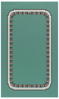 Ogival framework with inset rounded corners. Band of strung red flowers runs inside framework. Printed in red, white, tan, brown and black on green ground.