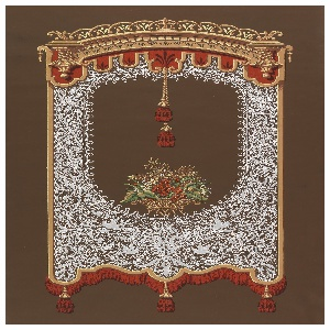 a and b) Elaborate lace design with fringe and tassel suspended from ornate cornice with lambrequin. In the center of the lace panel is a basket of flowers and two tassels hanging from lambrequin. Printed on brown ground.