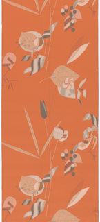 Very stylized bird, flower and leaf forms arranged in a very open format. Printed in colors on an orange ground.