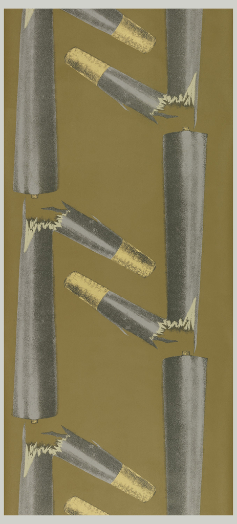 Photographic blow-up of broken chair legs. The design is a two-part mirror image. There is a single repeating motif of a chair leg broken near the brass cup end. This forms a sort of grid or zig-zag pattern. Printed in lavender, black, white and metallic gold on a deep ocher ground. This is side B of two parts.