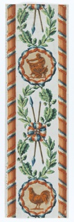 Two revolutionary emblems enframed in tricolor ribbons on top of a guilloche composed of laurel and oak leaves. The top emblem shows Hercules bending fasces, sitting on an animal pelt with a club by his side. The second emblem shows a large-scale cock standing.  Separating these emblems is a pair of crossed spears bound with a tricolor ribbon.  Reeded columns wrapped with tricolor ribbons run along either side. Vertical border.