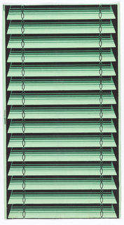 Trompe l'oeil shade. Green louvered or venetian blinds with simulated chain along either edge. Printed in black and greens.