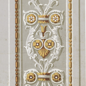 Vertical border printed two across with neoclassical-style shell, volutes and rosettes framed within egg and dart motifs. Borders have shadows printed on opposite sides of motifs. Golds, white and gray on gray background.