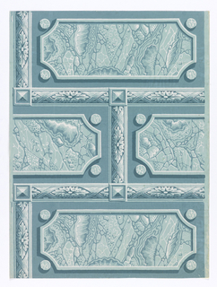 Faux aqua-colored marble brick or ashlar block pattern. A framework of crossed ribbons, acanthus diamonds and pyramid bosses encases each simulated marble block.
