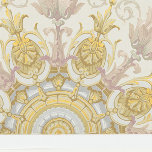 "Half trompe l'oeil ceiling rosette from decor ""Renaissance"". Printed in grisaille, mauve and gold."