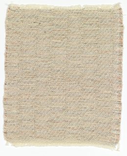 Handwoven fragment of evening coat fabric in matte white and silver metallic yarns in a very subtle vertical stripe.  Warp is of white cotton used in pairs; each weft consists of two white cotton yarns with one silver-colored yarn plied with red and green threads. The vertical stripe effect is caused by the exchange of wefts from one face of the double cloth to the other.