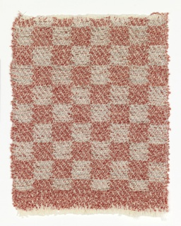Sample for a drapery material in an even checkerboard of red and silver.  Paired white cotton warps with weft of red, pink, and white bouclé yarn and silver-colored metallic yarn plied with fine red and green threads.  The patterning is created by the exchange of weft from one face to the other.