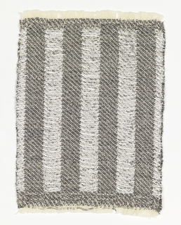 Sample for drapery material in a design of inch-wide vertical stripes of silver and black with white fleck.  Double cloth type in 1/3 twill interlacing.