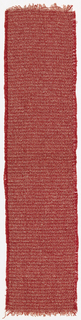 Narrow strip of hand-woven fabric with a color-and-weave effect. Red cotton warp with alternating wefts of red cotton, white rayon, and red, pink, and white bouclé yarn.