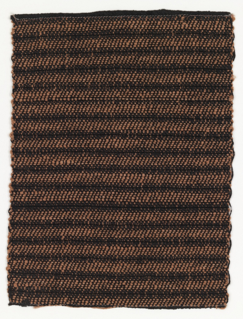 Horizontal stripe of pink and black. The warp is of heavy black linen; the weft is of heavy pink linen. The stripe is created by an alternating warp twill and weft twill.