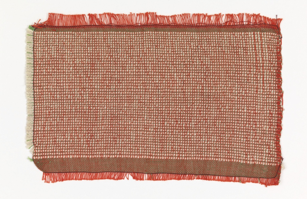 Handwoven sample for fabric with a color-and weave effect.  Bright red-orange fine cotton warp. The weft alternates one thin green silk yarn with a paired weft of off-white cotton bouclé yarn and off-white silk.  Narrow band at top and bottom of plain weave with green silk weft.