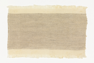 Handwoven sample with narrow horizontal stripes in natural colors. The warp is of undyed cotton, the weft of heavy white silk and unbleached linen.