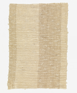 "Handwoven sample with broad vertical stripes of tan and off-white.  Warp is of grouped dark tan or off-white linen threads.  Weft is of a hand-spun off-white cotton bouclé yarn with great variation in thickness, giving a ""slubbed' effect."