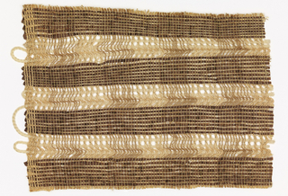 Handwoven partition material of open-weave plaid in natural tones with solid and open-weave areas.  The bleached and unbleached hemp-like warps alternate with very finely plied cotton threads of brown, yellow and off-white mixed.  In the dark horizontal bands, wefts of brown plastic alternate with wefts the same plied cotton thread. The interlacing is plain weave.  In the lighter horizontal bands, the weft is a heavy white horsehair braid, interlaced in gauze weave.