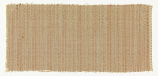 Drapery material commissioned by Philip Johnson for the Rockefeller guest house, with a shimmering vertical stripe of pearl and copper-colored metallics.  The warp is of irregularly distributed pearly plastic and copper-colored Lurex strips; the weft is beige chenille yarn.