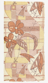 Flowers and a thick curving vine or pillar on a squared grid. 5 colors or blocks: 2 browns, rust, yellow, black.