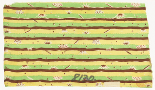 Non-directional design, narrow bands as in a landscape with tufts of grass and small plants. 3 colors: brown, yellow, green.