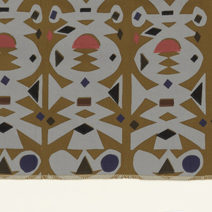 Columns of paper cutouts, printed in grey, black, pink and blue on light brown cotton poplin. Serged on all four sides.