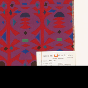 Columns of geometric forms resembling paper cutouts, printed in purple, blue, green and red. Serged on all sides.