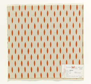 Off-set vertical rows of elliptical shapes, printed in orange on natural color. Serged on 2 sides and cut on 2 sides.